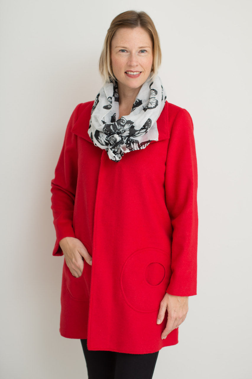 Swing Coat in Red Wool Blend