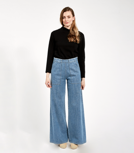 Bleach Indigo Long Sabrina Pants