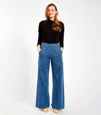 Washed Indigo Long Sabrina Pants
