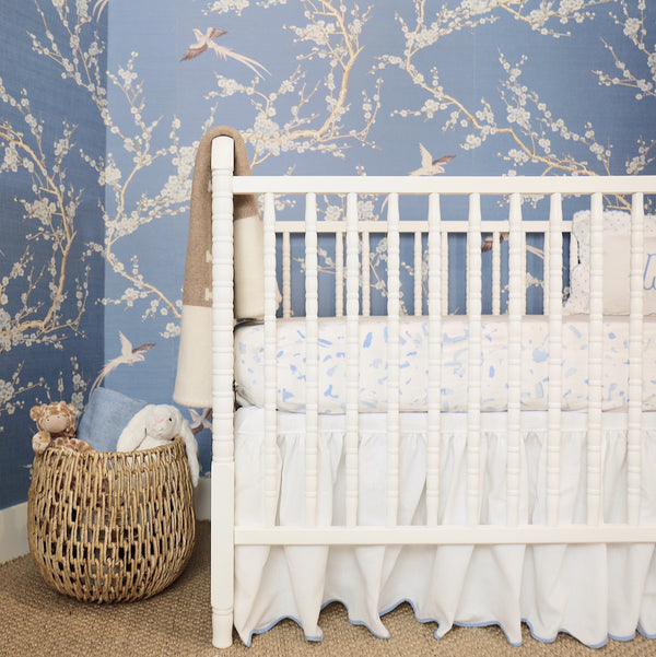 Cornflower Pique Crib Skirt
