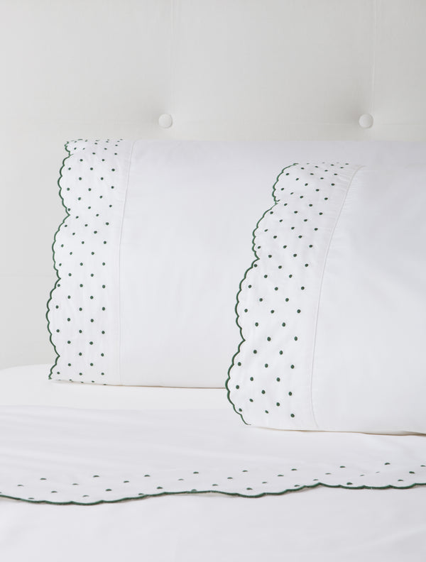 Hunter Green Swiss Dot Sheets