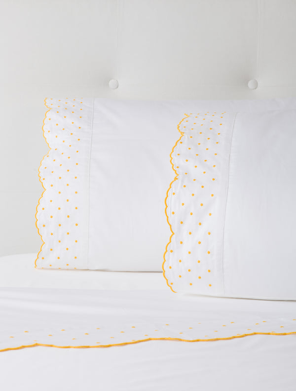 Marigold Swiss Dot Sheets