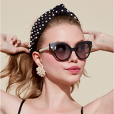 Woven Multi Pearl and Stud Knotted Headband, Jet Gold