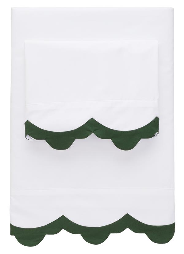 Hunter Green Pointy Scallop Sheets