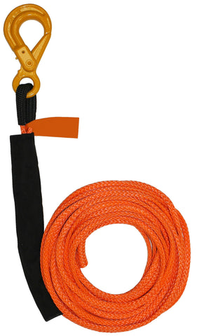 "4-R3875L  -   3/8"" 75ft Synthetic Rope winch line w/ Self Locking Hook"