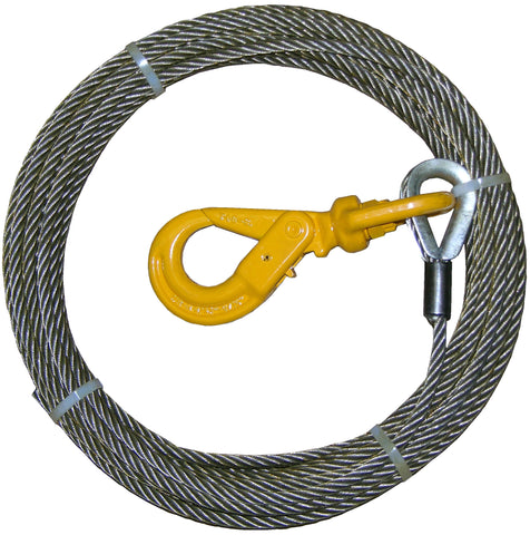 "4-38SC50LH  -  3/8"" 50ft Steel Core Winch Cable w/ Self Locking Hook"