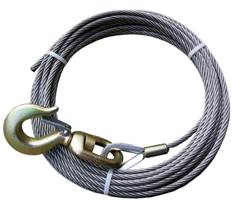 "4-38SC100S  -  3/8"" 100ft Steel Core Winch Cable w/ Swivel Hook"