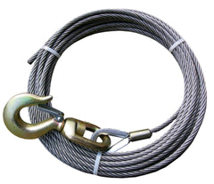 "4-38SC75S  -  3/8"" 75ft Steel COre Winch Cable w/ Swivel Hook"