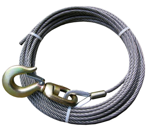 "4-38SC125S   3/8"" 125' STEEL CORE WINCH CABLE W/ SWIVEL HOOK"