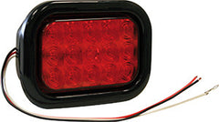 5625115<BR> RECTANGULAR RED 15 LED STOP/TAIL/TURN W/GROMMET & PLUG