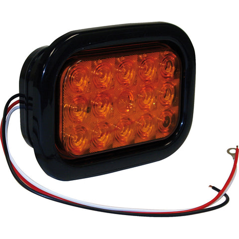 5625215  -  Rectangular Amber 15 LED w/ Grommet & Plug