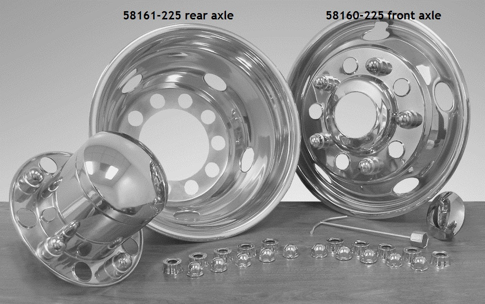 "5816-225 - 22.5"" x 8.25"" Over Lug Design Simulator Set Hub Pilot Wheel - 10 Lugs, 5 Hand Holes"
