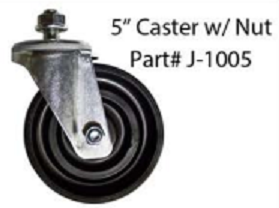 "J-1005<BR> 5"" REPLACEMT CASTER WHEEL W/NUT"
