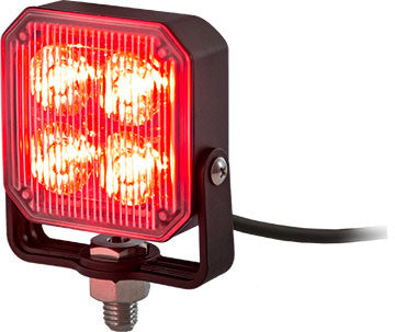 8891803  -  3X3 Red Pedestal LED Strobe Light w/ 55 AMPS 19 Flash Patterns