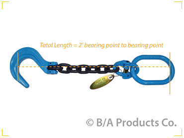 G10-12FH1   -   Grade 100 Chain w/ Oblong & Foundry Hook 1/2""