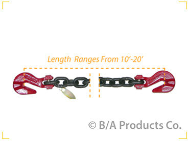 "G8-3820SGG   -   Grade 80 3/8"" Chain w/ Cradle Grab Hooks on Each End 20'"