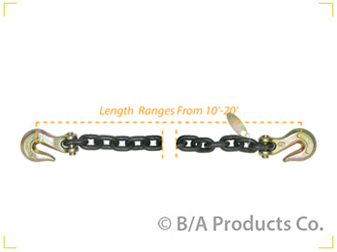 "G8-3815   -   Grade 80 3/8"" Chain w/ Clevis Grab Hooks on Each End 15'"