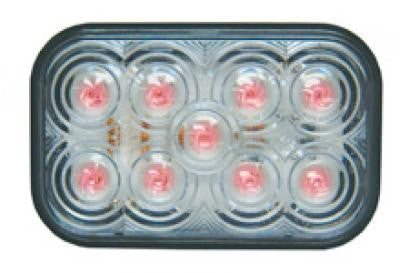 M42213RCL  -  Red/Clear Rectangular Marker 9 LED - Stop/Turn/Taillight