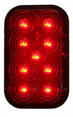 M42213R  -  Red Rectangular Marker 9 LED - Stop/Turn/Taillight