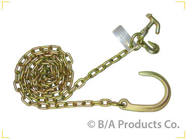 "N711-6CH  -  10ft 5/16"" Chains w/ 8"" J Hook & Grab & Hammerhead Hooks - Pair"