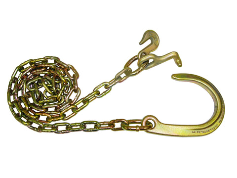 "N711-6E  -  8ft 5/16"" Chain w/ 8"" J & Grab & T Hooks - Pair"