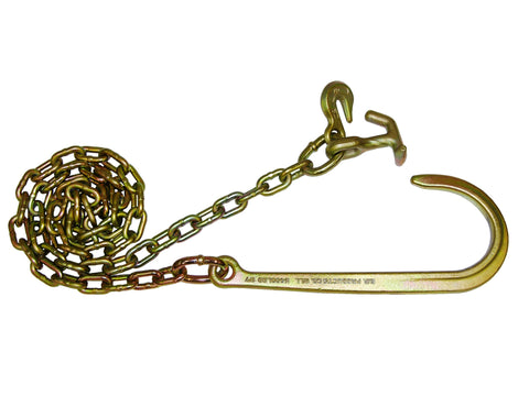 "N711-6BH  -  8ft 5/16"" Chains w/ 15"" J Hook & Hammerhead & Grab Hooks - Pair"