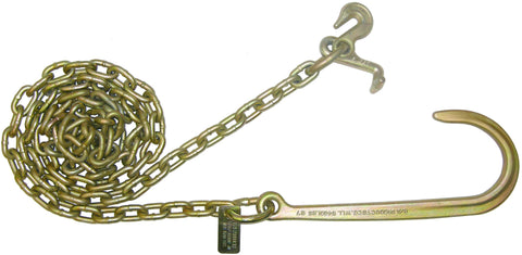 "N711-6B  -  8ft 5/16"" Chains w/ 15"" J Hook & Grab & T Hooks - Pair"