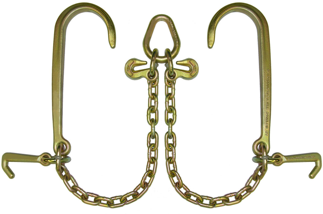 "N711-8J3  -  V Chains 3ft Legs w/ 15"" J Hooks, Mini J & Grab Hooks"