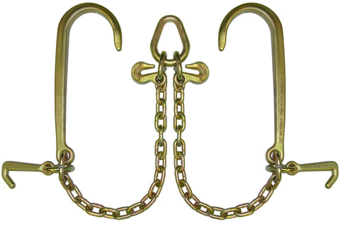 "N711-8J  -  V Chain 2ft Legs w/ 15"" J & Mini J & Grab Hooks"