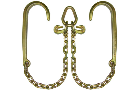 "N711-8  -  V Chain 2ft Legs w/ 15"" J Hook & Grab Hook"