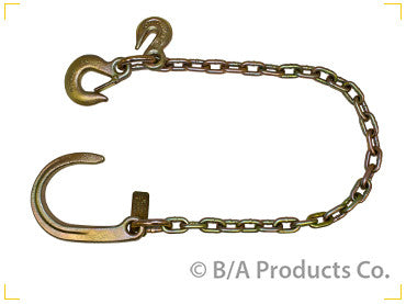 "N711-AC3S<BR> Ultimate Axle Chain 5/16"" CHAIN WITH 8″ J Hook, Grab Hook & Slip Hook"