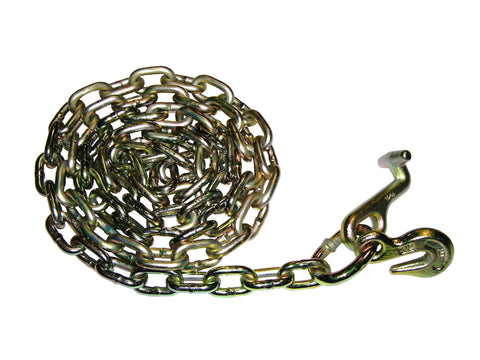 "N711-TG8<BR> 8' 5/16"" SAFETY CHAIN WITH T & GRAB HOOKS EACH"
