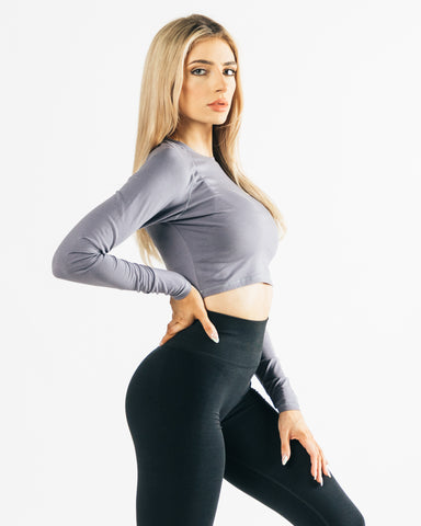 Women's Lounge Crop Top - Light Grey