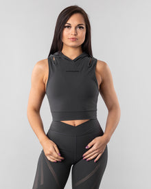 Surface Crop Tank Hoodie - Dark Grey