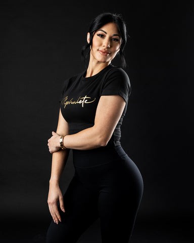 Signature Fitted Crop - Black & Gold