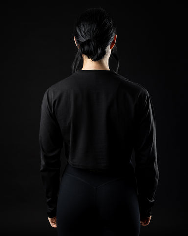 PBNS Oversized Long Sleeve Crop - Blackout