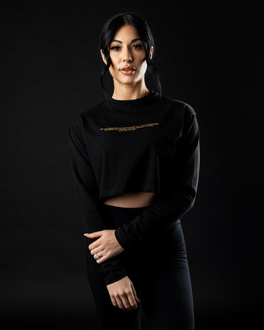 Legacy Oversized Long Sleeve Crop - Black & Gold