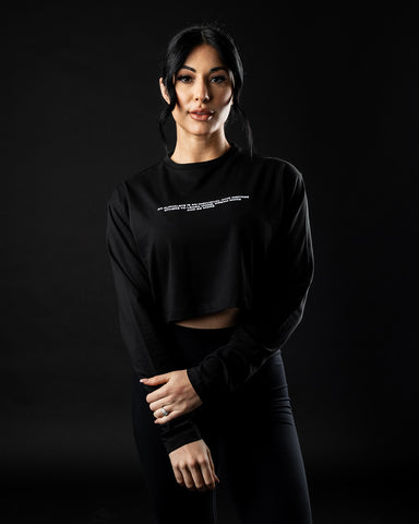 Legacy Oversized Long Sleeve Crop - Black
