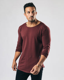 Essential Long Sleeve Scoop - Muted Maroon