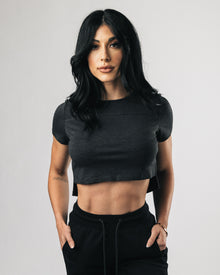 Premium Crop Top - Black Heather