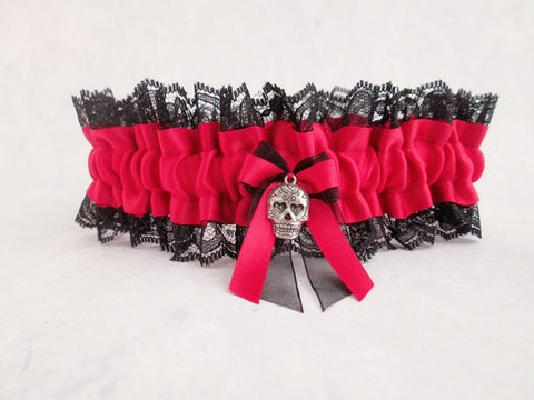 Custom Wedding Garter - Day of the Dead Sugar Skull.