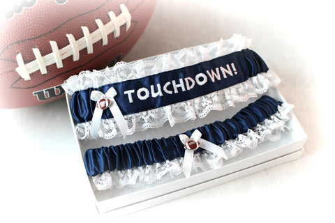 FootBall Embroidered Wedding Garter Set - Personalized Garters - Keepsake and Toss Wedding Garter