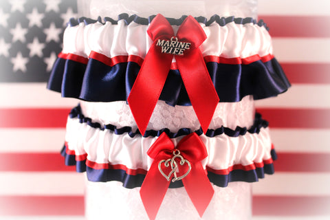 Military U.S. Marine Wedding Garter set - Marine Dress Blues Garters - Patriotic Garters.