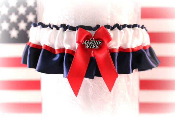 Military Marine Wedding Garter - Patriotic Garter.