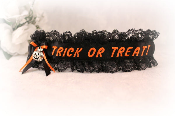 Halloween Embroidered Garter - Holiday Wedding Garter