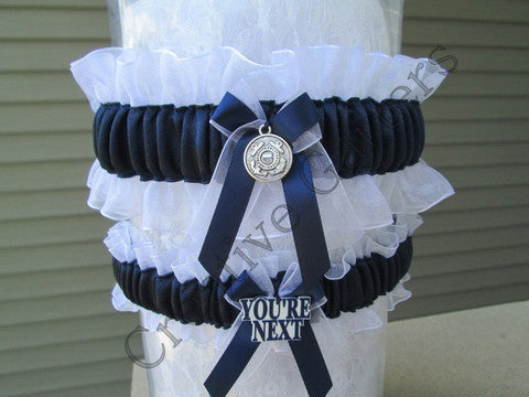 Military Coast Guard Wedding Garter Set - Something Blue Garters.