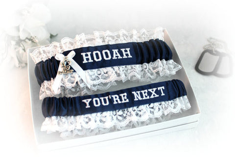 Military Army Embroidered Wedding Garter Set - Personalized Garters.