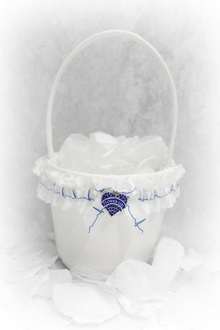 EMT Personalized Flower Girl Basket - Unique Basket - Something Blue