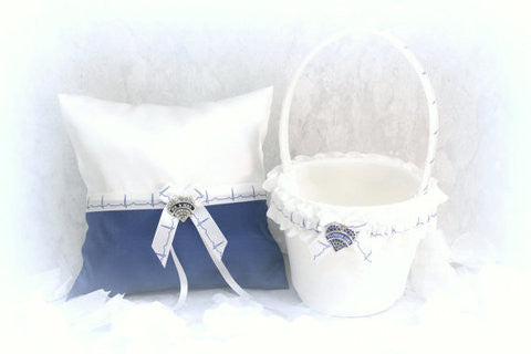 EMT Ring Bearer Pillow and Flower Girl Basket - Something Blue - Unique Pillow and Basket for Weddings