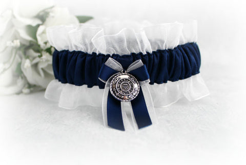 Single Coastie Wife Garter - Coast Guard Bridal Garter - Something Blue